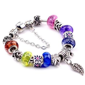 【米蘭精品】潘朵拉元素彩色串珠手鍊925純銀手鍊琉璃珠