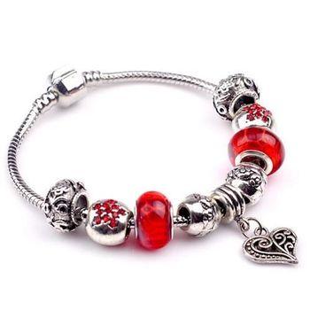 【米蘭精品】潘朵拉元素紅色串珠手鍊925純銀手鍊琉璃珠