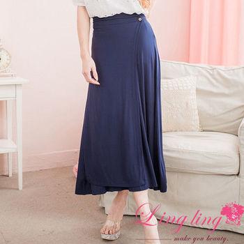 lingling中大尺碼 前接片飾釦後鬆緊長裙(搶眼藍)A2325-01 (適穿腰圍30~38以內)
