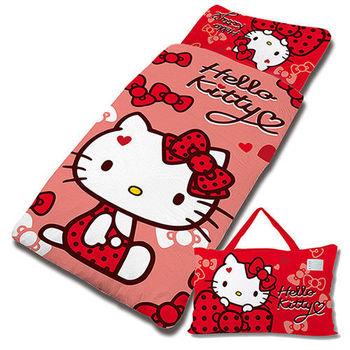 【享夢城堡】HELLO KITTY 蝴蝶結甜心系列-兒童睡袋(紅)