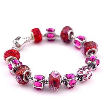 【米蘭精品】潘朵拉元素紅色串珠手鍊925純銀手鍊水晶珠