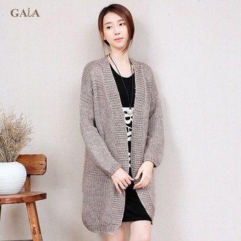 【GAIA】韓版寬鬆長版針織毛衣罩衫/外套
