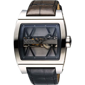 Corum 崑崙 Ti-Bridge雙鏤空限量手動上鍊械腕錶-銀/43mm UTIBLMTS1