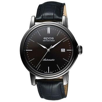 EPOS 都會雅仕時尚機械腕錶-咖啡x黑色錶帶/42mm 3390.152.25.17.25FB