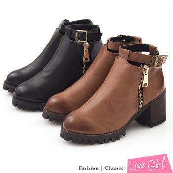 ☆Love Girl☆韓款鏤空金屬釦環街頭風粗跟踝靴