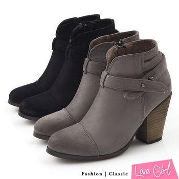 ☆Love Girl☆法式美型前V口交叉側扣粗跟踝靴