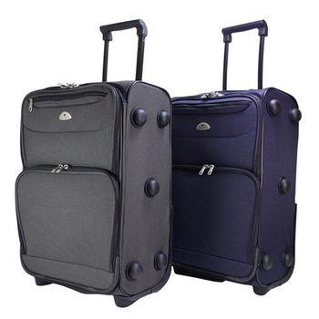 【US DUCK】19吋紳士商旅布面登機行李箱VA-9619-010(灰黑/灰藍)任一