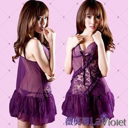 薇奧莉-愛東森購物型錄意蔓延-輕柔薄紗二件式睡衣-優雅紫
