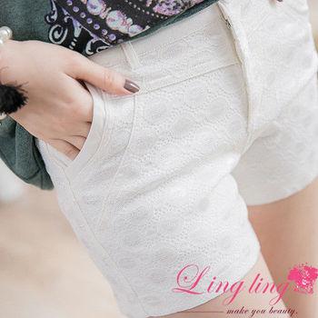 lingling中大尺碼 拼接圓圈蕾絲口袋短褲(簡約白)A2410 (適穿腰圍30吋~40吋以內,L~5L號以內 )