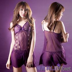 薇奧莉-夢幻愛戀-開叉性東申購物感薄紗二件式睡衣-優雅紫