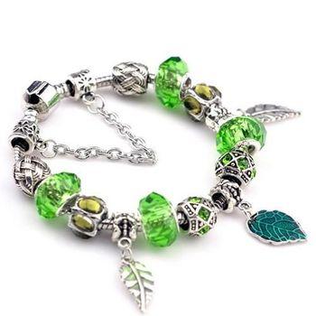 【米蘭精品】潘朵拉元素綠色串珠手鍊925純銀手鍊水晶珠