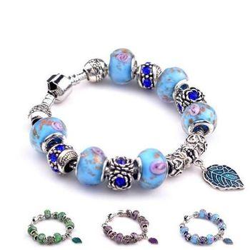 【米蘭精品】潘朵拉元素串珠手鍊925純銀手鍊琉璃珠