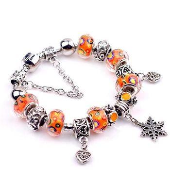 【米蘭精品】潘朵拉元素橘色串珠手鍊925純銀手鍊琉璃珠