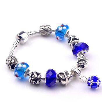 【米蘭精品】925純銀手鍊潘朵拉元素串珠手鍊水晶珠
