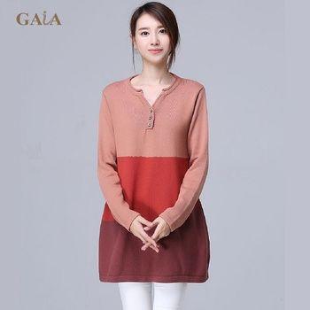 【GAIA】韓版寬鬆撞色拼接V領針織衫