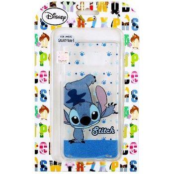 【Disney】Samsung Galaxy Note 5 地板動作系列 彩繪透明保護軟套-史迪奇