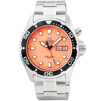 ORIENT 東方錶潛水機械鋼帶錶-橘 / FEM6500AM (原廠公司貨)
