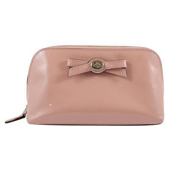 COACH 53415 質感時尚全漆皮蝴蝶結飾萬用包/化妝包.粉
