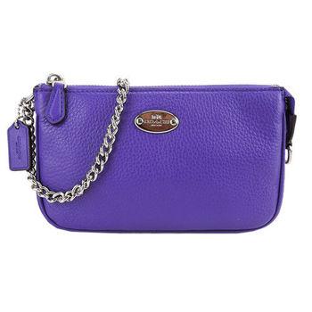 COACH 鐵牌素面皮革鍊帶手提包(紫)