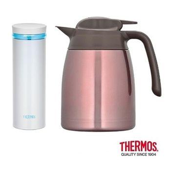 THERMOS膳魔師 不鏽鋼真空保溫壼1.0L+輕量保溫瓶0.5L (THV-1000+JNO-500-PRW)