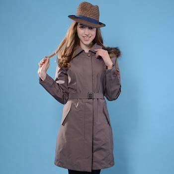【JORDON 橋登】GORE-TEX 女單件式長版狢毛帽時尚風衣外套(1954)