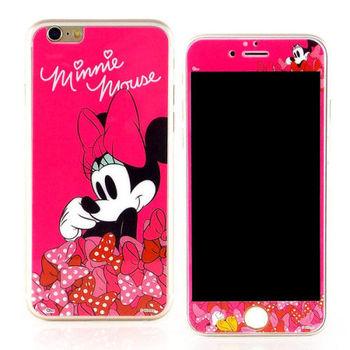 【Disney 】iPhone 6 plus 強化玻璃彩繪保護貼-米妮
