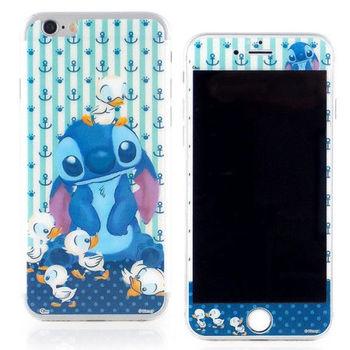 【Disney 】iPhone 6 plus 強化玻璃彩繪保護貼-可愛史迪奇