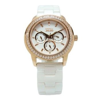NATURALLY JOJO 愛是無限光芒晶鑽陶瓷時尚優質腕錶-白+玫瑰金-JO96868-80R