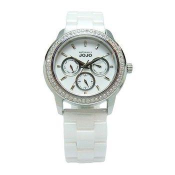 NATURALLY JOJO 愛是無限光芒晶鑽陶瓷時尚優質腕錶-白-JO96868-80F