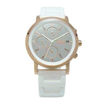 NATURALLY JOJO 鏡面下的美麗陶瓷時尚優質腕錶-白+玫瑰金-JO96873-80R