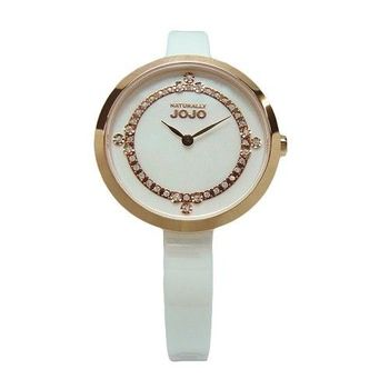 NATURALLY JOJO 鎂光燈焦點晶鑽時尚陶瓷優質腕錶-白-JO96874-81R