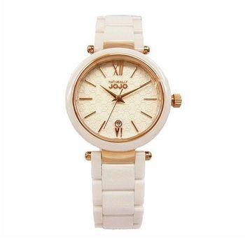 NATURALL JOJO 愛的印記時尚陶瓷優質女性腕錶-白+玫瑰金-JO96879-80R