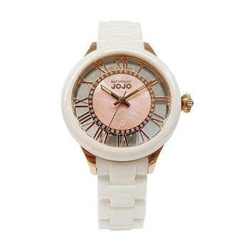 NATURALLY JOJO 情網的浪漫陶瓷時尚優質腕錶-白+玫瑰金-JO96798-81R