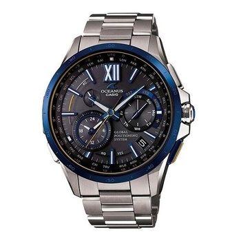 CASIO OCEANUS首款*1GPS鈦合金電波時尚優質限量腕錶-海軍藍-OCW-G1000E-1A