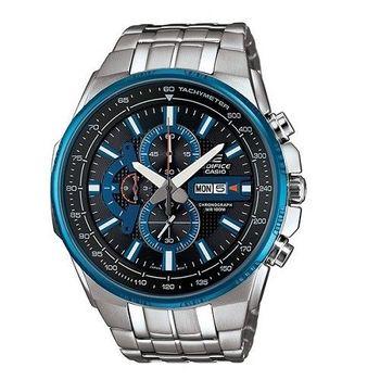 CASIO EDIFICE 勇者無敵三眼雷達運動時尚腕錶-黑+藍-EFR-549D-1A2