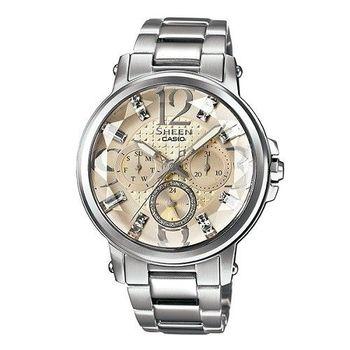 CASIO SHEEN 炫彩施華洛世奇時尚優質優雅腕錶-淡金-SHE-3035D-7A2