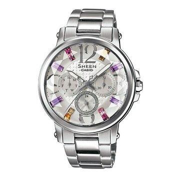 CASIO SHEEN 炫彩施華洛世奇時尚優質優雅腕錶-銀-SHE-3035D-7A