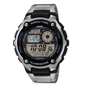 CASIO 冰天雪地潛水專家昇華版運動鋼帶腕錶-銀-AE-2100WD-1A