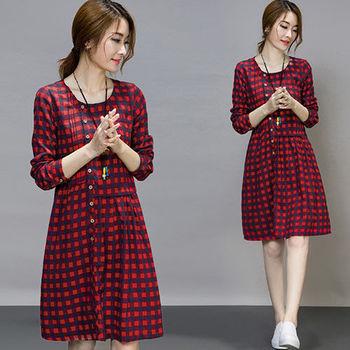 【Jisen】寬鬆類棉麻格子洋裝