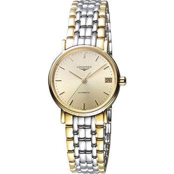 LONGINES Presence 經典優雅機械女錶-金x雙色版/30mm L43222327