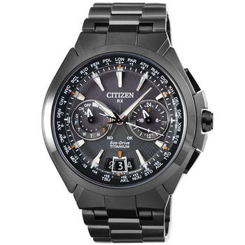 CITIZEN星辰 GPS 鈦金屬光動能藍寶石多國時區計時錶-IP黑 / CC1085-52E