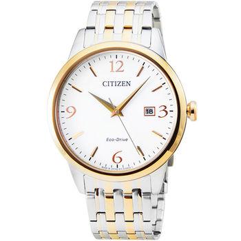 CITIZEN星辰ECO-DRIVE藍寶石水晶大錶徑光動能時尚錶-金 / BM7304-59A