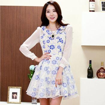 【菟絲花】大尺碼-韓版大碼女裝蕾絲甜美長袖連衣裙