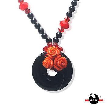 【HEMAKING】天然瑪瑙玫瑰項鍊(黑)