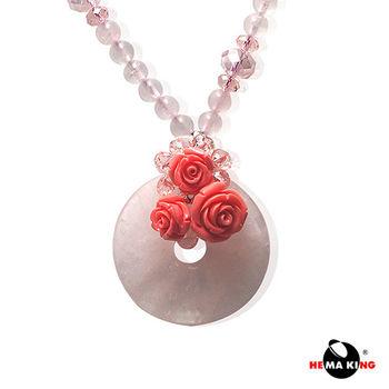 【HEMAKING】天然瑪瑙玫瑰項鍊(粉)