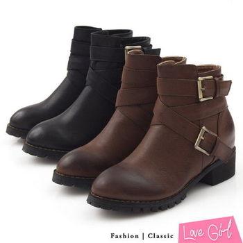 ☆Love Girl☆男孩風交叉雙側釦內增高工程靴