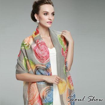 Seoul Show螺旋幾何圈圈 花色羊毛圍巾