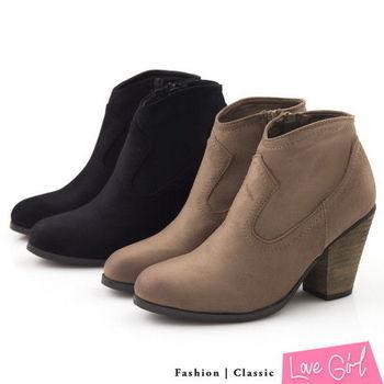 Love Girl 英倫風情素面修腿剪裁粗跟裸靴