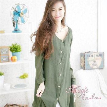 【魔法拉拉】排釦開襟不規則麻紗長袖洋裝A516(率性軍綠)