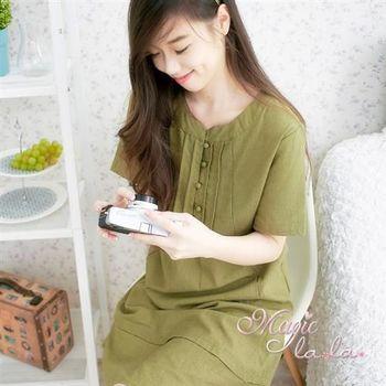 【魔法拉拉】亞麻森林系領口小包扣短袖洋裝A536(雅緻綠)